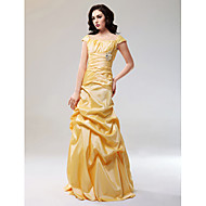 cheap -A-Line Off Shoulder Floor Length Taffeta Dress with Draping / Criss Cross by TS Couture®