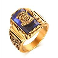 povoljno -Muškarci Midi prsten Pečatni prsten Sintetički akvamarin 1pc Crn Zelen Crvena Titanium Steel Geometric Shape Vintage Vojni Party Dnevno Jewelry Klasičan Prsteni srednje škole klasa Cool