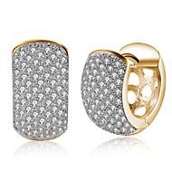 رخيصةأون -نسائي ذهب مكعب زركونيا الماس الصغيرة حلقات كلاسيكي سيدات موضة الأقراط مجوهرات ذهبي من أجل مناسب للحفلات مناسب للبس اليومي 1 زوج