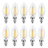 povoljno -YWXLIGHT® 10pcs 4 W LED svjećice LED filament žarulje 300-400 lm E14 C35 4 LED zrnca COB Božićni vjenčani ukrasi Toplo bijelo Bijela 220-240 V