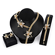 povoljno -Žene Bijela Kubični Zirconia Svadbeni nakit Setovi Klasičan Cvijet dame Moda Naušnice Jewelry Zlato Za Vjenčanje Party 1set
