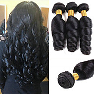 cheap -3 Bundles Loose Wave Human Hair Unprocessed Human Hair Wig Accessories Headpiece Natural Color Hair Weaves / Hair Bulk 8-28 inch Natural Color Human Hair Weaves Silky Easy dressing Sexy Lady Human