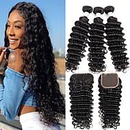 povoljno -3 paketi s zatvaranjem Duboko Val Remy kosa Netretirana  ljudske kose Ljudske kose plete Produžetak Bundle kose 8-20 inch Prirodna boja Isprepliće ljudske kose Jednostavan Najbolja kvaliteta Novi