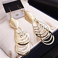 זול -בגדי ריקוד נשים עגילי טיפה עגילים תלויים חלול Leaf Shape טיפה וינטאג' ציפוי זהב עגילים תכשיטים זהב / כסף עבור חתונה Party זוג 1