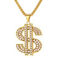 ieftine -Bărbați Zirconiu Cubic Coliere cu Pandativ lanțul franco dolari Modă Hip Hop Iced Out Teak Monede de aur Monede de argint- Negru Albastru Auriu 55 cm Coliere Bijuterii 1 buc Pentru Cadou Zilnic