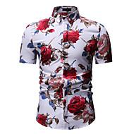 cheap -Men's Shirt - Floral Print Classic Collar White / Short Sleeve