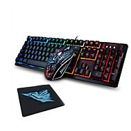 رخيصةأون -LITBest 31K USB سلكي كومبو لوحة المفاتيح الماوس لون متغاير / الخلفية / مضاد للتسرب لوحة المفاتيح المريحة مضيء لعب الفأر / الماوس مريح 1600 dpi