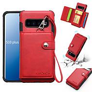 Case Kompatibilitás Samsung Galaxy Galaxy S10 / Galaxy S10 Plus / Galaxy S10 E Pénztárca / Kártyatartó / Ütésálló Fekete tok Egyszínű Puha PU bőr