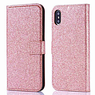 Case For Apple iPhone XS / iPhone XR / iPhone XS Max Wallet / Card Holder / Flip Full Body Cases Solid Colored / Glitter Shine Hard PU Leather