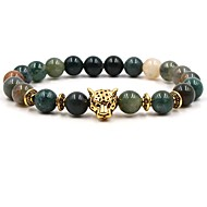 Men's Women's Green Natural Stone Bead Bracelet Beaded Animal Chakra Panther Hip-Hop equilibrio Stone Bracelet Jewelry Green For Wedding Ceremony