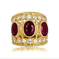 povoljno -Žene Prsten prsten za palac Kubični Zirconia Granat 1pc Zlato Pozlaćeni Krug Azijski Moda Party Dnevno Jewelry Klasičan Cool