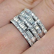 povoljno -Žene Prsten Prsten za vječnost prsten Kubični Zirconia 1pc Srebro mesing Krug Moda Iced Out Vjenčanje Party Jewelry Klasičan Lijep