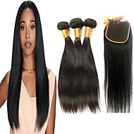 povoljno -3 paketi s zatvaranjem Brazilska kosa Ravan kroj Virgin kosa Ljudske kose plete Bundle kose Jedan Pack Solution 8-20 inch Prirodna boja Isprepliće ljudske kose s dječjom kosom Sexy Lady Gust