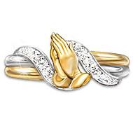 povoljno -Žene Prsten Kubični Zirconia 1pc Zlato mesing Čelik Geometric Shape Neobično Jedinstven dizajn Moda Dar Praznik Jewelry Klasičan Molitva Cool