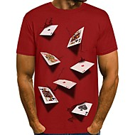 Men's T-shirt Graphic Simulation Tops Round Neck Black Blue Red / Long Sleeve