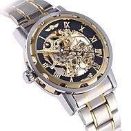 ieftine -WINNER Bărbați Ceas Schelet Ceas de Mână ceas mecanic Mecanism automat Oțel inoxidabil Argint Gravură scobită Analog Lux extravagant - Auriu