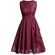 A-linje V-hals Knælang Chiffon / Blondelukning Elegant / Vintage Inspireret Bal / Skolebal Kjole 2020 med Pjuskede flæser / Blondeindlæg