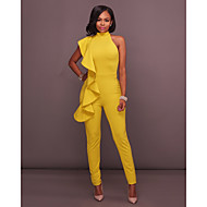 Women's Basic Halter Neck White Black Yellow Jumpsuit Solid Colored Backless