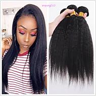 povoljno -6 paketića Brazilska kosa Kinky Ravno Netretirana  ljudske kose Ljudske kose plete Bundle kose Jedan Pack Solution 8-28 inch Prirodna boja Isprepliće ljudske kose Odor Free Nježno Moda Proširenja