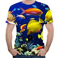 Heren Print EU / VS maat - T-shirt 3D / dier Ronde hals blauw