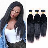 povoljno -3 paketa Brazilska kosa Kinky Ravno Virgin kosa Wig Accessories Ljudske kose plete Bundle kose 8-28 inch Prirodna boja Isprepliće ljudske kose Odor Free Smooth Sexy Lady Proširenja ljudske kose