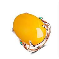 رخيصةأون -نسائي خاتم الراتنج 1PC أصفر مطلية بالذهب عيار 18 Geometric Shape أنيق مناسب للحفلات مناسب للبس اليومي مجوهرات كلاسيكي فرح كوول