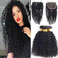 povoljno -3 paketi s zatvaranjem Brazilska kosa Kinky Curly Virgin kosa 100% Remy kose tkanja Bundle Ljudske kose plete Bundle kose Jedan Pack Solution 8-20 inch Prirodna boja Isprepliće ljudske kose Nježno