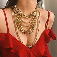 ieftine -Pentru femei Lănțișor Coliere Layered Elegant Modă Aluminiu Auriu 28.5 cm Coliere Bijuterii 1 buc Pentru Cadou Carnaval Concediu Club Festival / Colier lung,