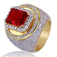 povoljno -Muškarci Prsten Sintetička Rubina 1pc Zlato Kamen Geometric Shape Stilski Party Dnevno Jewelry Klasičan Sretan Cool