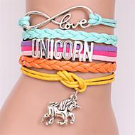 voordelige -Heren Dames Lederen armbanden Gevlochten Paard Stel je voor Stijlvol Legering Armband sieraden Paars / Roze / AB witte kleur Voor Dagelijks Festival