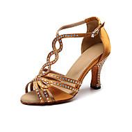 رخيصةأون -نسائي أحذية الرقص ستان أحذية رقص / صالة الرقص / أحذية سالسا حجر كريم صندل / كعب كعب متوسط غير مخصص برونز / EU37