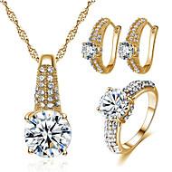 povoljno -Žene Kubični Zirconia Svadbeni nakit Setovi Geometrijski Radost Stilski Pozlaćeni Naušnice Jewelry Zlato / Pink Za Party Dnevno 1set