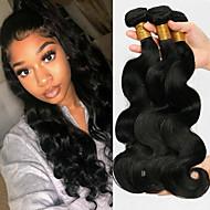 cheap -3 Bundles with Closure Brazilian Hair Body Wave Virgin Human Hair Unprocessed Human Hair Natural Color Hair Weaves / Hair Bulk Bundle Hair One Pack Solution 8-20 inch Natural Color Human Hair Weaves