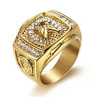 povoljno -Muškarci Prsten Kubični Zirconia 1pc Zlato Titanium Steel Geometric Shape Stilski Dnevno Jewelry Klasičan Nada Cool