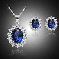 رخيصةأون -نسائي أقراط الزر قلائد الحلي كلاسيكي أنيق كلاسيكي مطلي بالفضة الأقراط مجوهرات أزرق من أجل مناسب للبس اليومي عمل 1SET