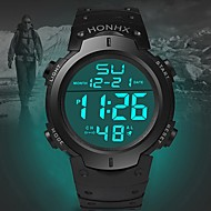 Men's Sport Watch Quartz Sporty Fashion Calendar / date / day Silicone Black Digital - White Black Blue One Year Battery Life / Stainless Steel / Noctilucent