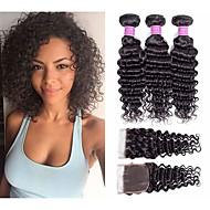 cheap -3 Bundles with Closure Peruvian Hair Deep Wave Virgin Human Hair 100% Remy Hair Weave Bundles Headpiece Natural Color Hair Weaves / Hair Bulk Extension 8-20 inch Natural Color Human Hair Weaves Odor