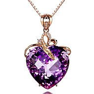 رخيصةأون -نسائي كريستال قلائد الحلي كلاسيكي قلب موضة مطلية بالذهب أرجواني 45+5 cm قلادة مجوهرات 1PC من أجل هدية مناسب للبس اليومي