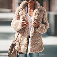Жен. Лацкан с тупым углом Зима Пальто Обычная Однотонный Повседневные Черный Розовый Зеленый S M L