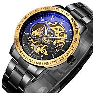 ieftine -WINNER Bărbați Ceas Schelet Ceas de Mână ceas mecanic Mecanism automat Oțel inoxidabil Negru / Argint 30 m Rezistent la Apă Gravură scobită Luminos Analog Lux Vintage - Alb-Negru Negru Argintiu
