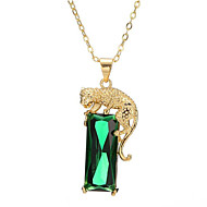 رخيصةأون -نسائي أخضر عقيق يماني قلائد الحلي طويل Tiger موضة نحاس مطلية بالذهب فاتح أخضر 40+5 cm قلادة مجوهرات 1PC من أجل هدية مناسب للبس اليومي