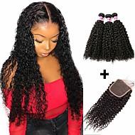 povoljno -3 paketi s zatvaranjem Brazilska kosa Kinky Curly Ljudska kosa Netretirana  ljudske kose Headpiece Ljudske kose plete Bundle kose 8-20 inch Prirodna boja Isprepliće ljudske kose Rasprodaja Moda Gust