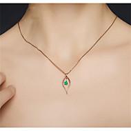 povoljno -Žene Zelen Sintetički Emerald Ogrlice s privjeskom Kruška Ispustiti Moda mesing Pozlaćeni Svijetlo zelena 45+5 cm Ogrlice Jewelry 1pc Za Dar Dnevno