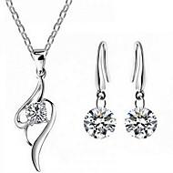 povoljno -Žene Kubični Zirconia Svadbeni nakit Setovi Klasičan Srce Moda Naušnice Jewelry Srebro Za Party Dnevno 1set