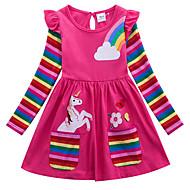 povoljno -Djeca Djevojčice Aktivan Unicorn Geometrijski oblici Životinja Print Dugih rukava Iznad koljena Haljina Fuksija