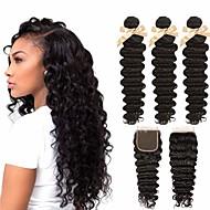 cheap -3 Bundles with Closure Brazilian Hair Deep Wave Virgin Human Hair 100% Remy Hair Weave Bundles Headpiece Natural Color Hair Weaves / Hair Bulk Extension 8-20 inch Natural Color Human Hair Weaves Odor