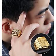 رخيصةأون -رجالي خاتم الخاتم 1PC ذهبي 18K الذهب Geometric Shape الآسيوي موضة هيب هوب مناسب للبس اليومي حفلة ليلية مجوهرات ستايل منقوش إيجال قمة الأسرة كوول