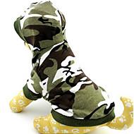 ieftine -Pisici Câine Hanorace cu Glugă camuflaj Modă Iarnă Îmbrăcăminte Câini Respirabil Culoare Camuflaj Albastru Trandafiriu Costume Bumbac XS S M L
