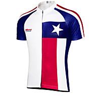 economico -21Grams Per uomo Manica corta Maglia da ciclismo Cielo blu + bianco Texas Bandiera Bicicletta Top Ciclismo da montagna Cicismo su strada Resistente ai raggi UV Traspirante Asciugatura rapida Gli sport