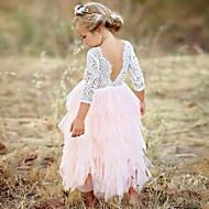 povoljno -Djeca Djevojčice Princeza Party Dnevno Jednobojni Cvijet Čipka Više slojeva Dugih rukava Haljina Obala / Pamuk